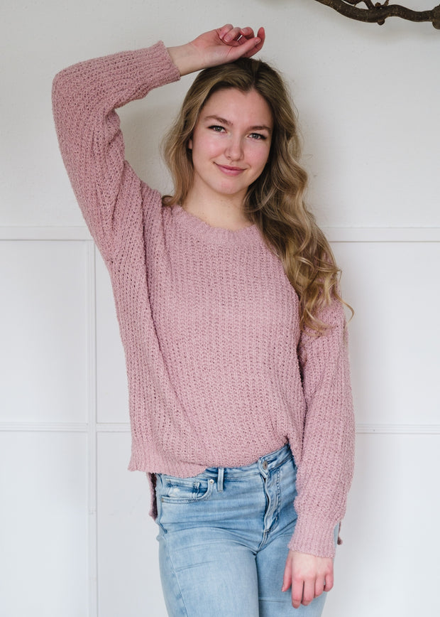 My Cozy Lightweight Teddy Sweater (Blush)