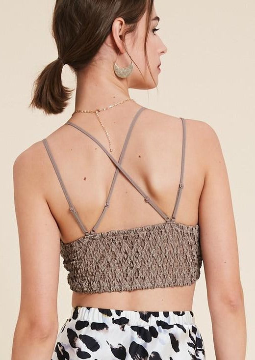 Wishlist Scalloped Lace Bralette (Cocoa)