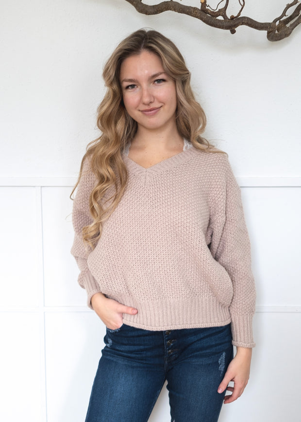 My Cozy Snuggly V Sweater (Taupe)