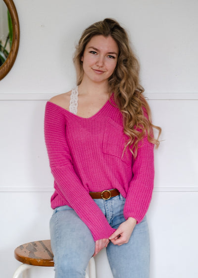 My Cozy Knit Pocket Sweater (Hot Pink)