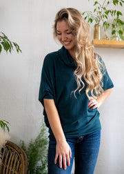 Natural Vibe Cowl Neck Sweater (Teal Green)
