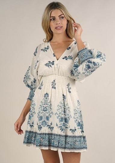 Lovestitch Babydoll Vintage Dress (Blue/White)