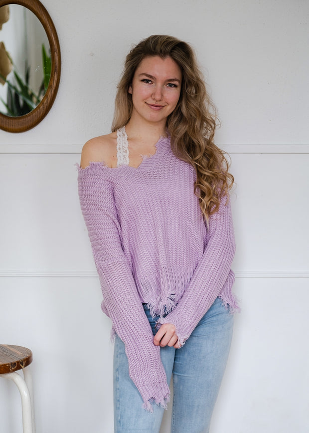 My Cozy Distressed Sweater (Lavender)