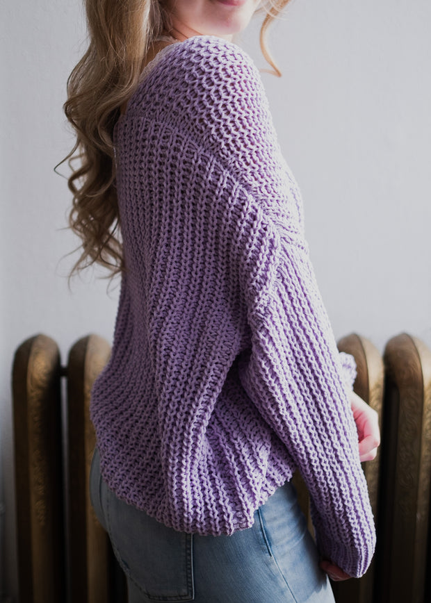 My Cozy Slouchy Knit Sweater (Lavender)