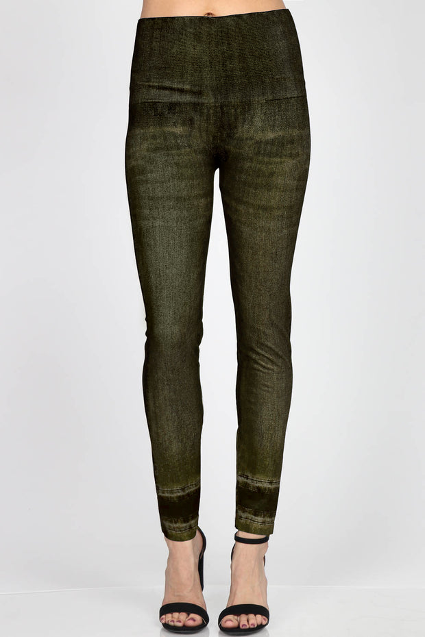 M Rena Denim Legging (Green Olive)