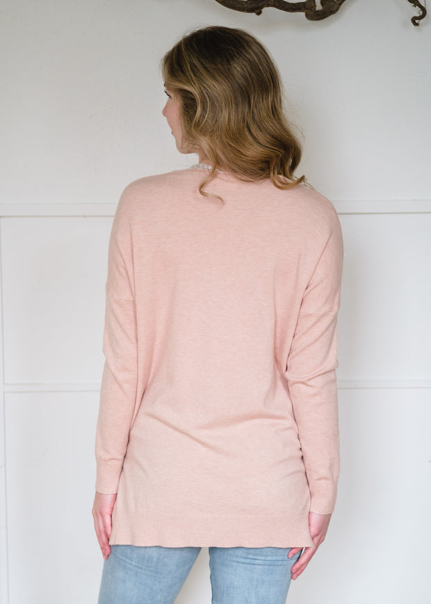 Comfy As Can Be Sweater (Blush)