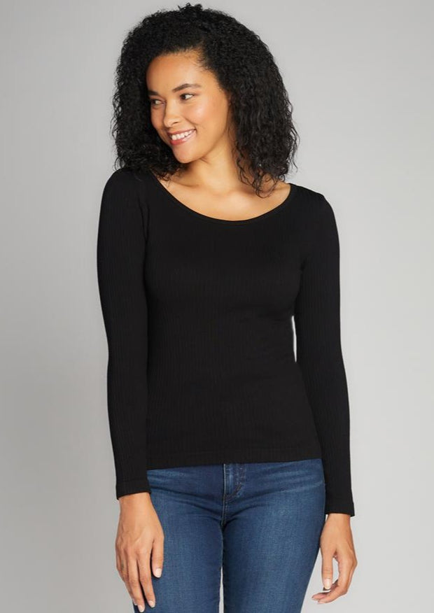 C'est Moi Ribbed Round Neck Top (Black)