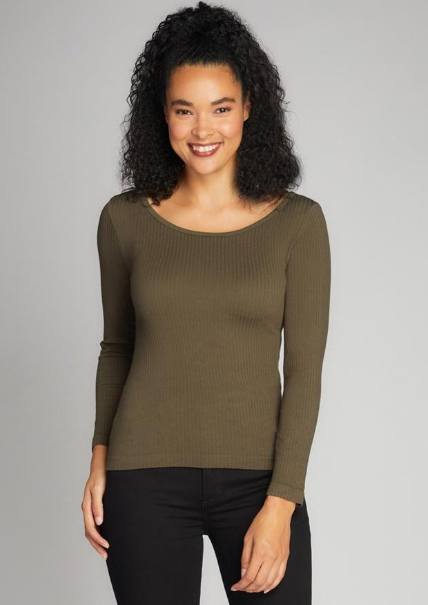 C'est Moi Ribbed Round Neck Top (Olive)