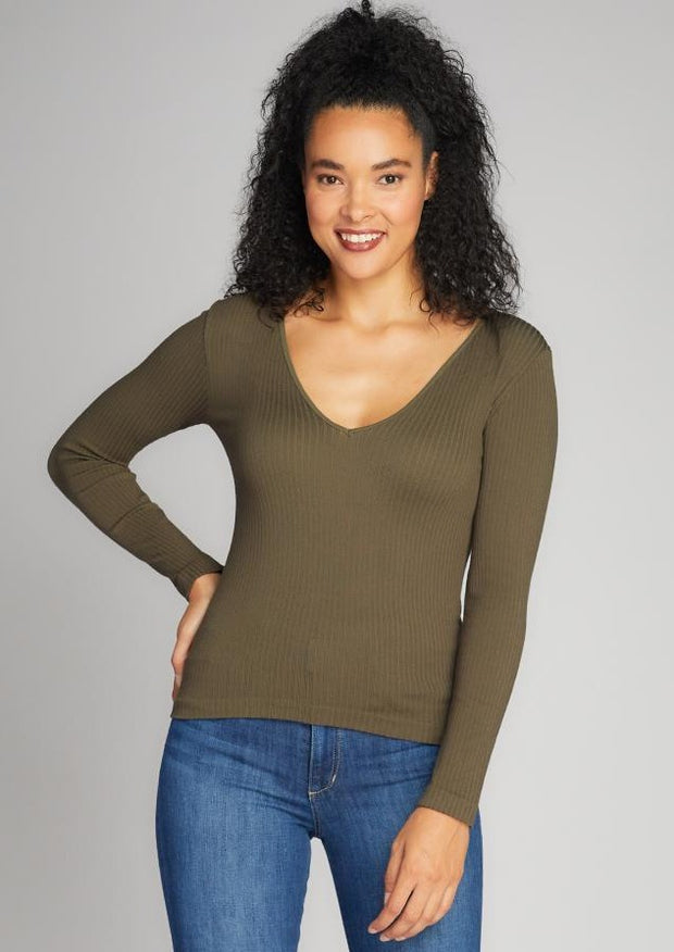 C'est Moi Ribbed V Neck Top (Olive)