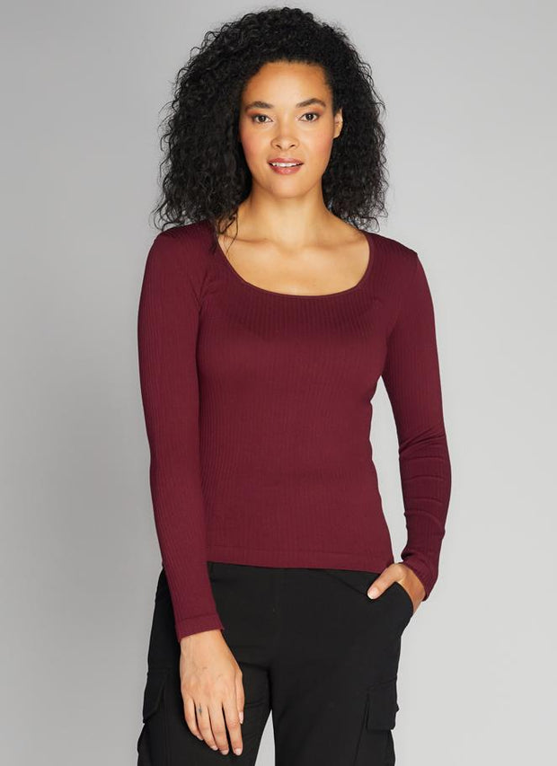 C'est Moi Ribbed Square Neck Top (Bordeaux)