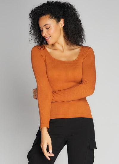 C'est Moi Ribbed Square Neck Top (Ginger)