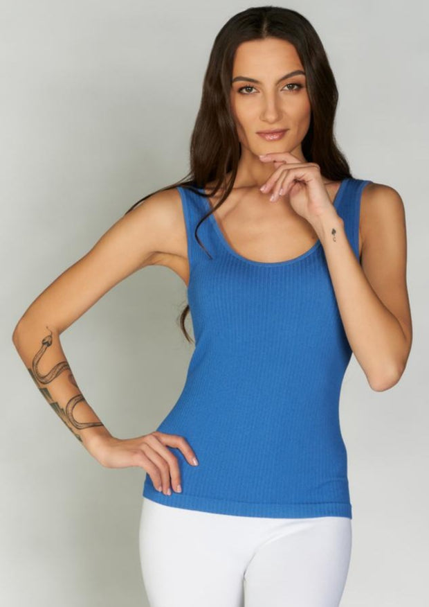 Bamboo Ribbed Scoop Neck Tank (Cobalt)