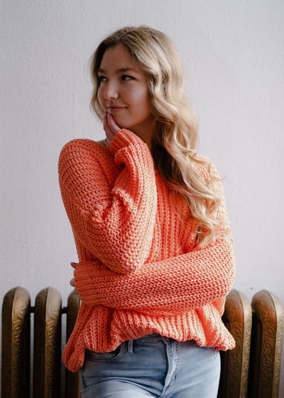 My Cozy Slouchy Knit Sweater (Orange Crush)