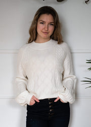 My Cozy Cable Mock Neck Sweater (Ivory)