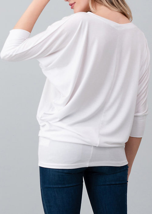 Natural Life: Modal Round Neck 3/4 Sleeve Top (White)