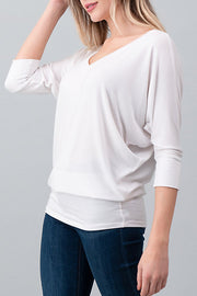 Natural Vibe Modal V Neck Top (White)