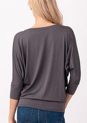 Natural Vibe Modal V Neck Top (Charcoal)