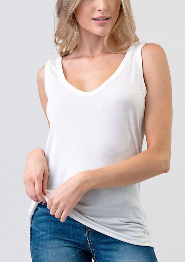 Natural Vibe Modal Scoop Tank (White)