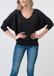 Natural Vibe Modal V Neck Top (Black)