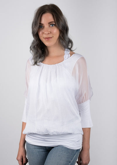 Catwalk Silk Banded Top (White)