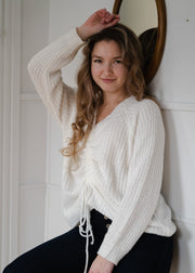 My Cozy Tie Front Sweater (Ivory)