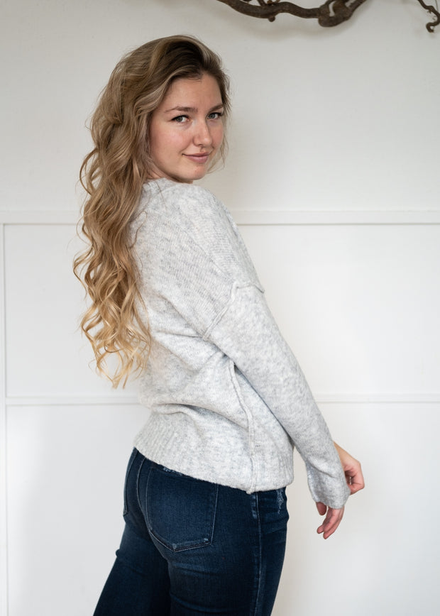 My Cozy Heather V Sweater (Heather Silver)