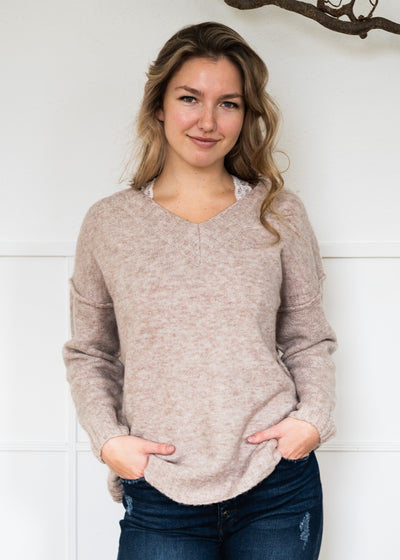 My Cozy Heather V Sweater (Heather Taupe)
