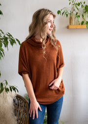 Natural Vibe Cowl Neck Sweater (Rust)