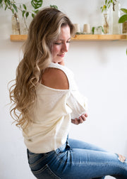 My Cozy Open Shoulder Sweater (Ivory)