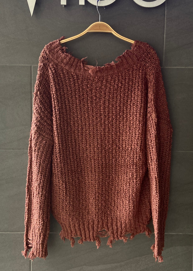 My Cozy Distressed Sweater (Rust)