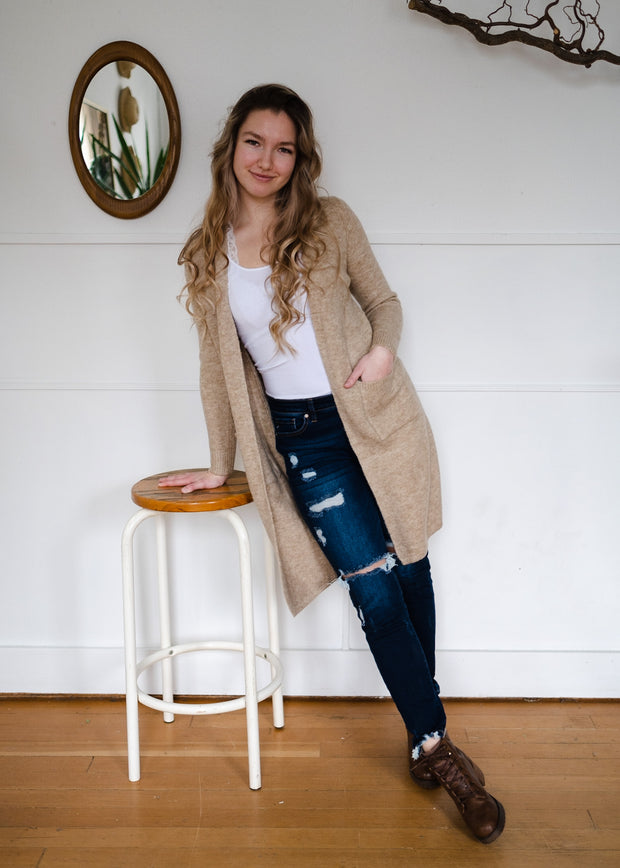 My Cozy Heather Cardigan (Taupe)