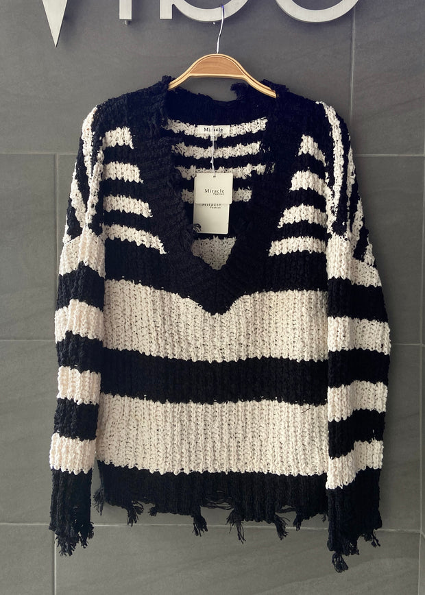 My Cozy Striped Sweater (Black/White)