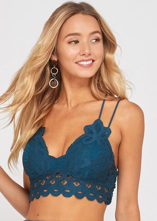 Wishlist Scalloped Lace Bralette (Teal)