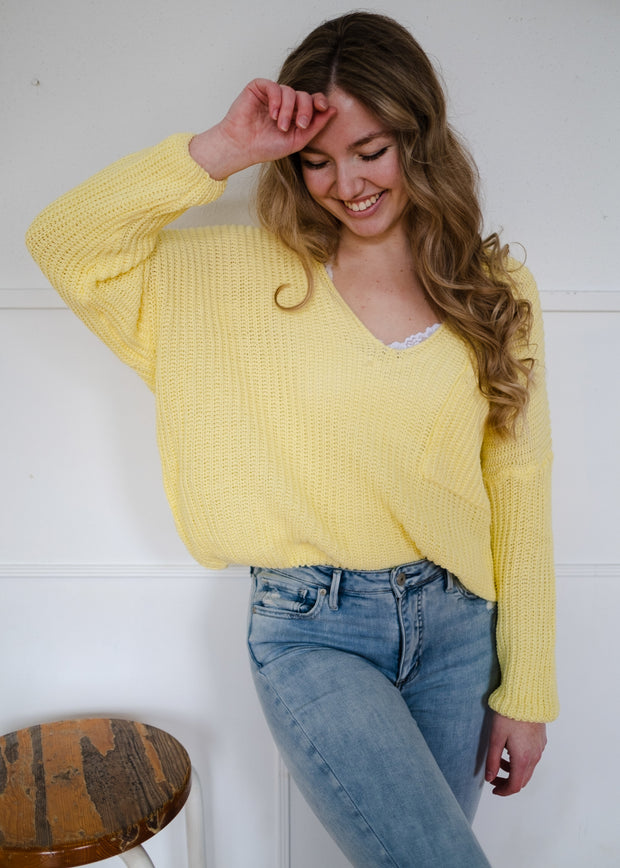 My Cozy Knit Pocket Sweater (Sunshine)