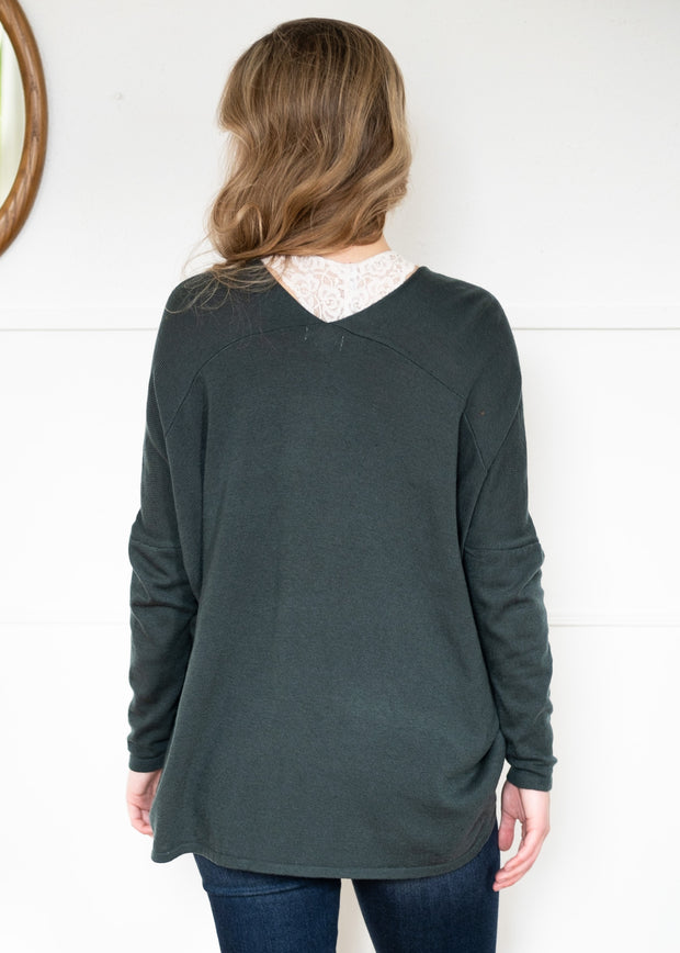 My Cozy Double V Sweater (Emerald)