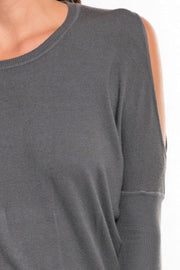 Lovestitch Cold Shoulder Sweater Dress (Heather Pewter)