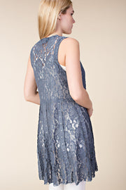 Vocal Lace Studded Vest (Denim)