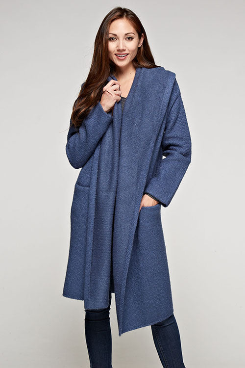 Lovestitch Oversized 2 Pocket Coatigan (Denim)
