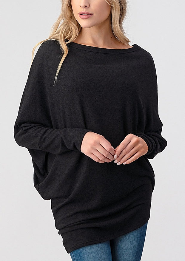 Natural Vibe Asymmetrical Brushed Top (Black)