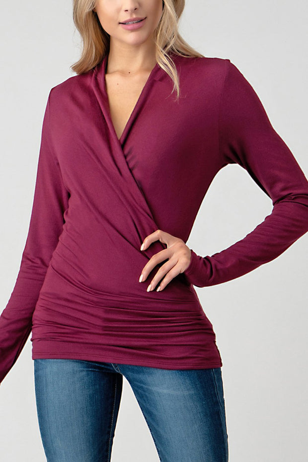 Natural Life Front Wrap Blouse (Apple Wine)