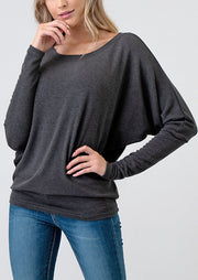 Natural Vibe Knit Long Sleeve (Dark Charcoal)