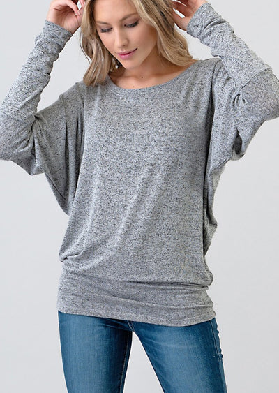 Natural Vibe Knit Long Sleeve (Heather Grey)