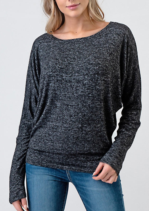 Natural Life Brushed Round Neck Top (Black)