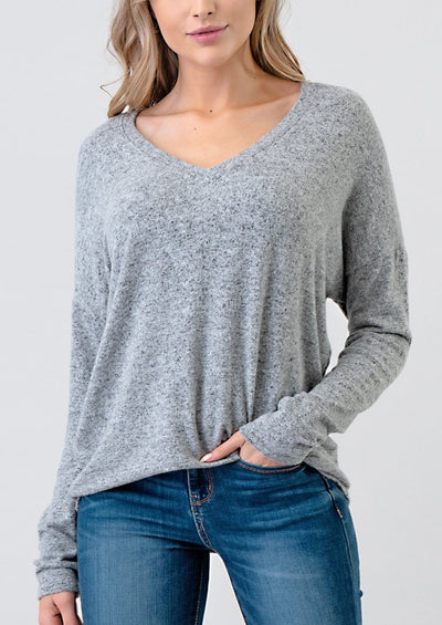 Natural Vibe Brushed V Sweater (Heather Grey)
