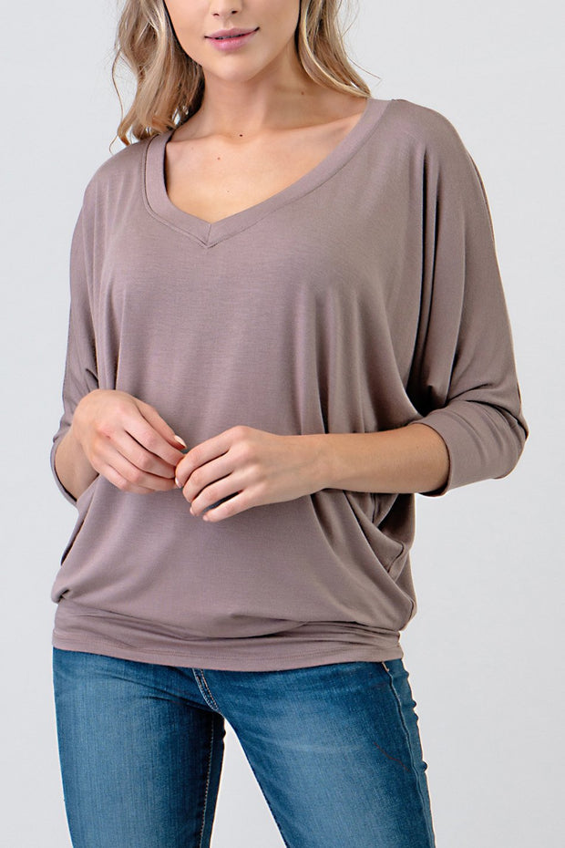 Natural Vibe Modal V Neck Top (Natural)