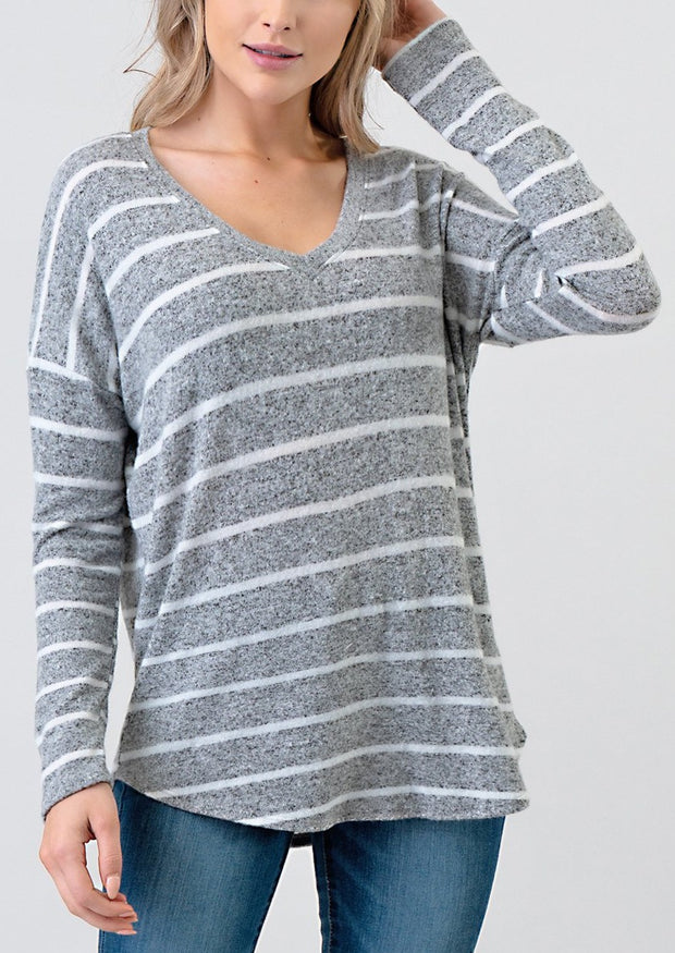 Natural Vibe Brushed V Sweater (Striped Grey)