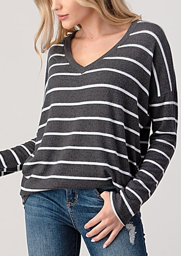 Natural Vibe Brushed V Sweater (Striped Charcoal)