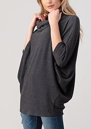 Natural Vibe Cowl Neck Sweater (Charcoal)