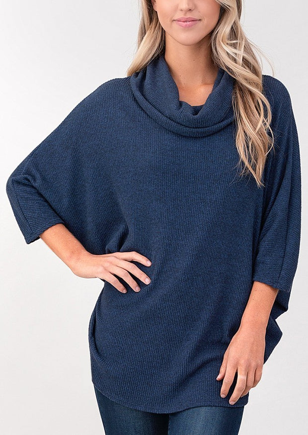 Natural Vibe Cowl Neck Sweater (Navy)
