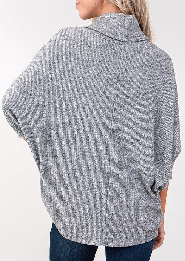 Natural Vibe Cowl Neck Sweater (Heather Grey)